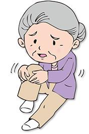 膝を抑える年配の女性