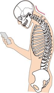 スマホをしているときの骨格のイラスト