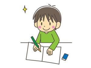 前向きに勉強する子供