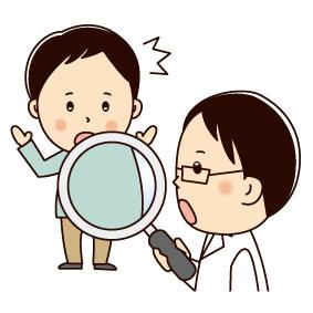 体を虫眼鏡で観察する医師