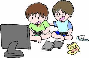 テレビゲームをする子供