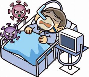 新型コロナウイルスで重症化した患者