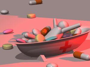 大量の薬で溺れる人