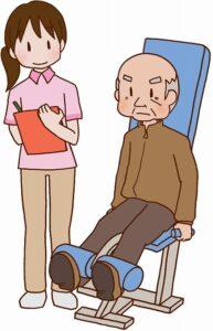 足の運動をするお年寄り